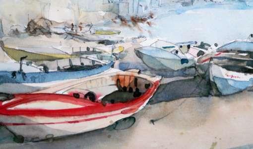 Wasser, Hafen und Boote in Aquarell