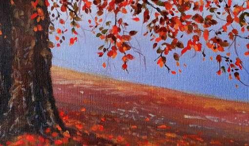 Jahreszeiten in Acryl: Herbstlandschaft