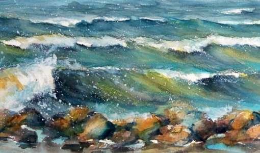 Bewegtes Meer im Aquarell